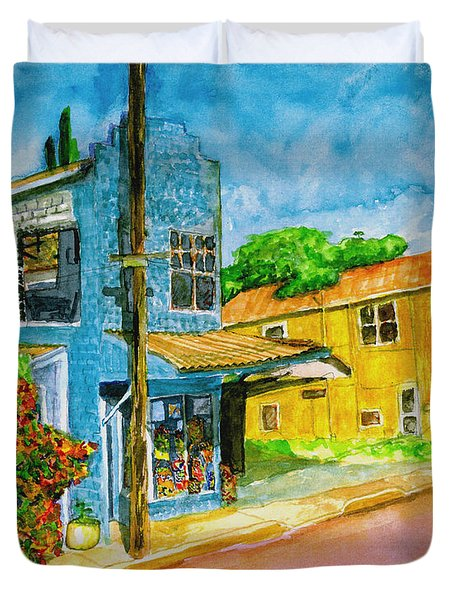 Duvet Cover featuring the painting Camilles Place by Eric Samuelson