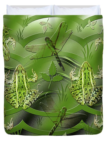 Camo Frog Dragonfly Duvet Cover