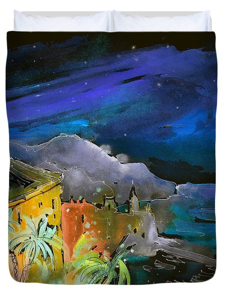 Camogli By Night In Italy Duvet Cover by Miki De Goodaboom