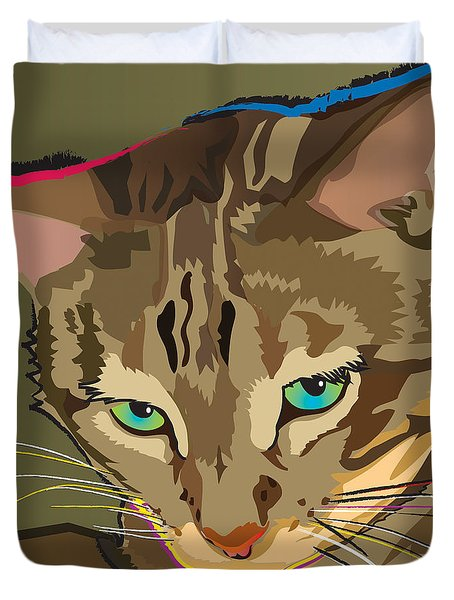 Camouflage Bengal Cat Square Duvet Cover