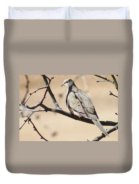Camouflaged Mourning Dove Duvet Cover