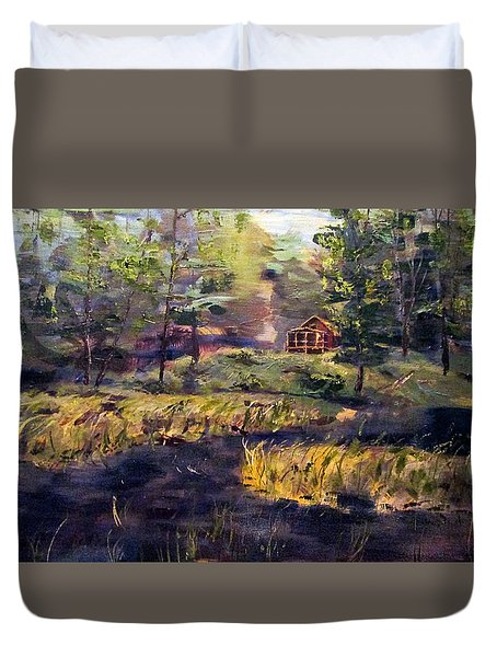 Camp At Efner Lake Brook Duvet Cover