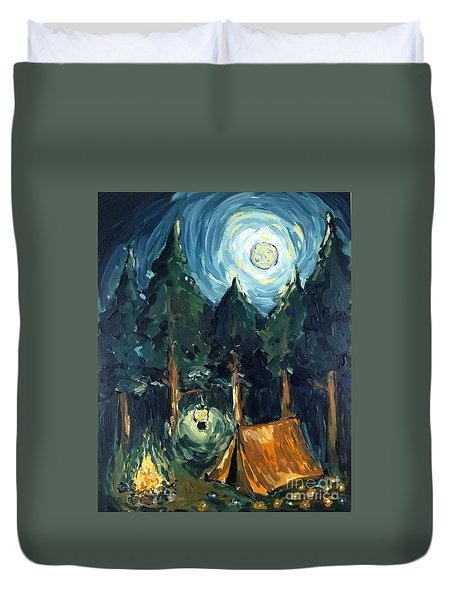 Camp At Night Duvet Cover