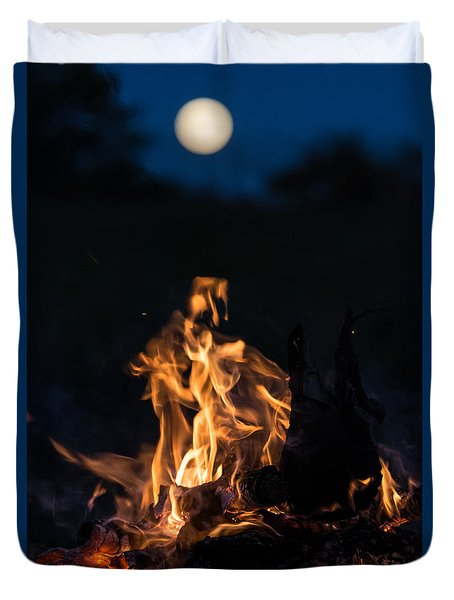 Camp Fire And Full Moon Duvet Cover
