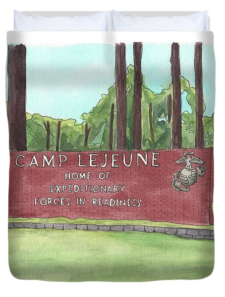 Camp Lejeune Welcome Duvet Cover