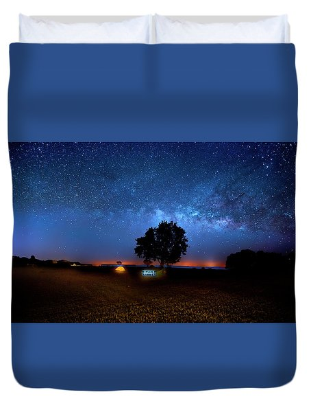 Duvet Cover featuring the photograph Camp Milky Way by Mark Andrew Thomas