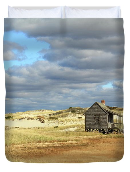 Duvet Cover featuring the photograph Camp On The Marsh And Dunes by Roupen  Baker