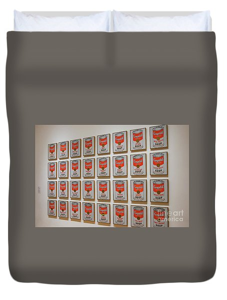 Duvet Cover featuring the photograph Campbell Soup By Warhol by Patricia Hofmeester