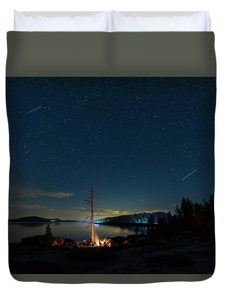 Duvet Cover featuring the photograph Campfire 1 by Jim Thompson