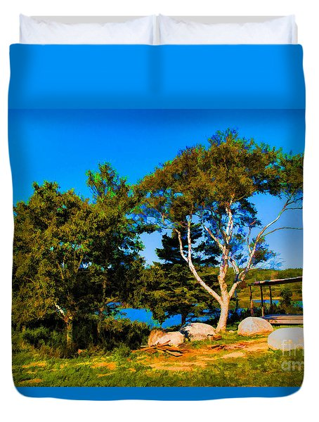 Campfire Lake Duvet Cover