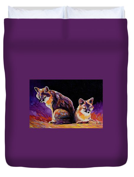 Duvet Cover featuring the painting Campfire Surveillance Team by Bob Coonts