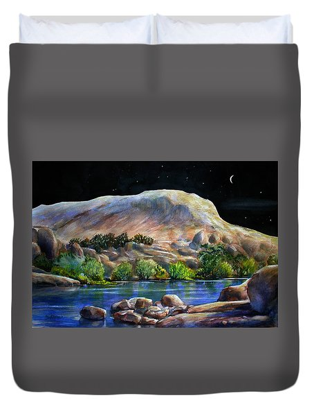 Camping In The Moonlight Duvet Cover