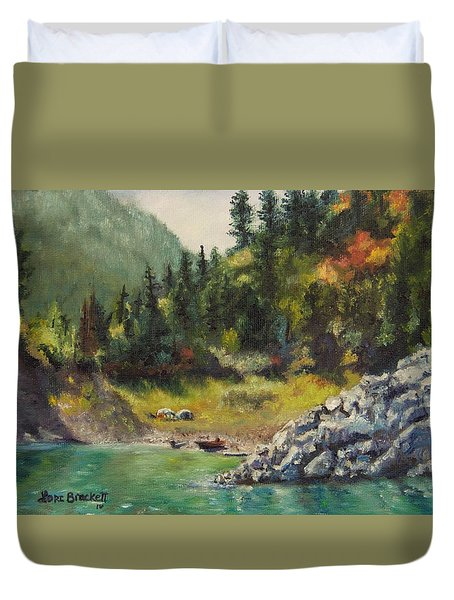 Camping On The Lake Shore Duvet Cover