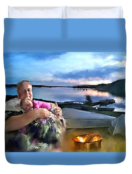 Camping With Grandpa Duvet Cover