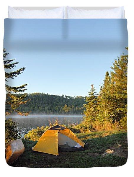 Campsite On Alder Lake Duvet Cover by Larry Ricker