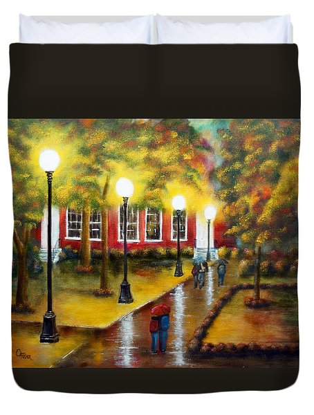 Duvet Cover featuring the painting Campus Rain by Chris Fraser