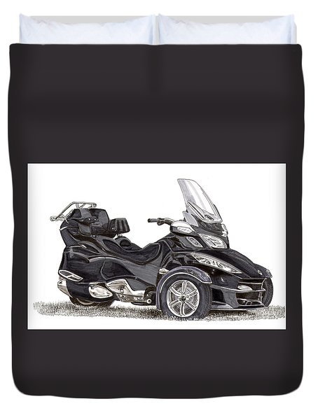 Duvet Cover featuring the painting Can-am Spyder Trike by Jack Pumphrey