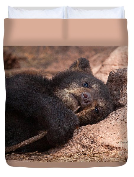 Duvet Cover featuring the photograph Can I Eat This by Laurinda Bowling
