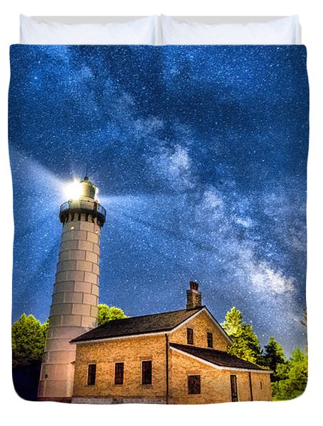 Cana Island Lighthouse Milky Way In Door County Wisconsin Duvet Cover by Christopher Arndt