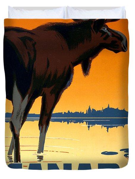 Canada Big Game Vintage Travel Poster Restored Duvet Cover