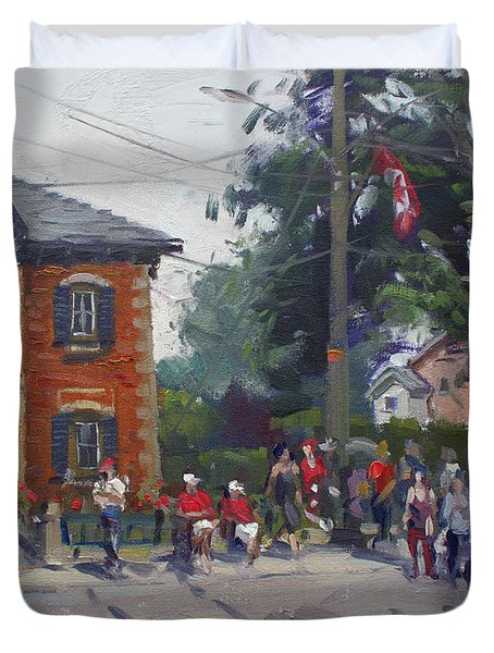 Canada Day Parade At Glen Williams  On Duvet Cover