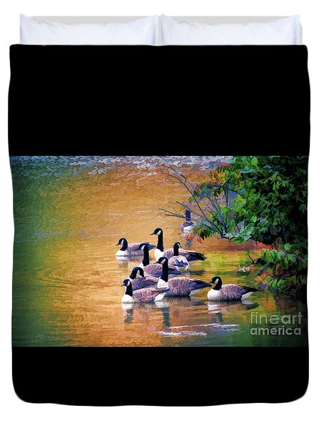 Duvet Cover featuring the photograph Canada Geese - Autumn At Pandapas Pond by Kerri Farley