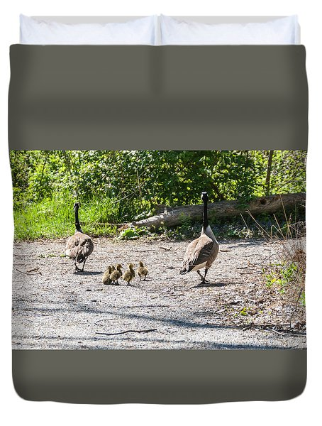 Canada Geese Family Walk Duvet Cover by Edward Peterson