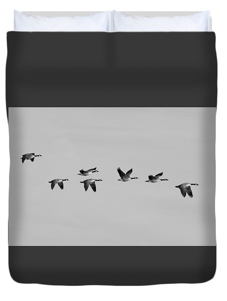 Duvet Cover featuring the photograph Canada Geese In Flight - Black And White - Monochrome by Ram Vasudev