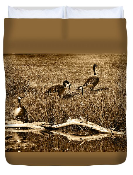 Duvet Cover featuring the photograph Canada Geese Lakeside by Kathleen Stephens