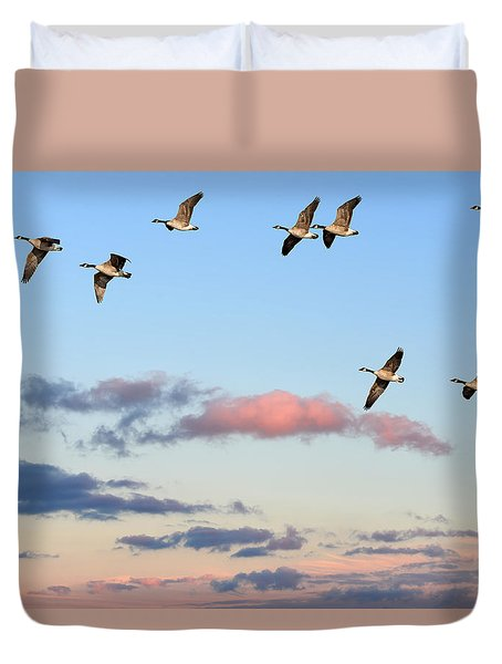 Canada Geese Migration Duvet Cover
