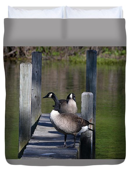 Duvet Cover featuring the photograph Canada Geese On Dock by Kathleen Stephens