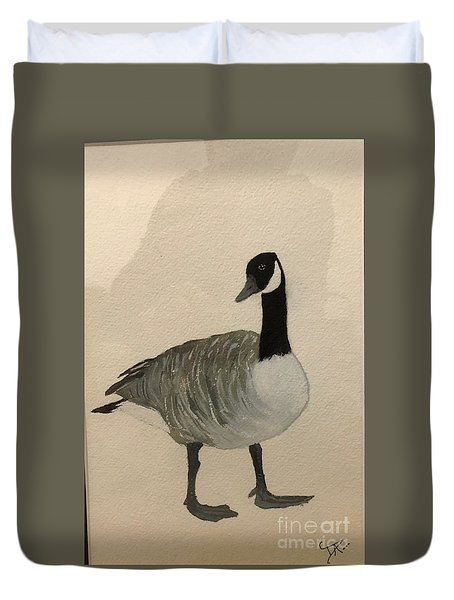 Duvet Cover featuring the painting Canada Goose by Donald Paczynski