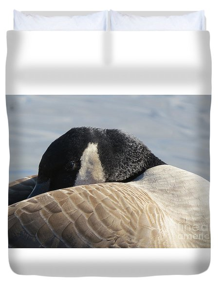 Canada Goose Head Duvet Cover by Mary Mikawoz