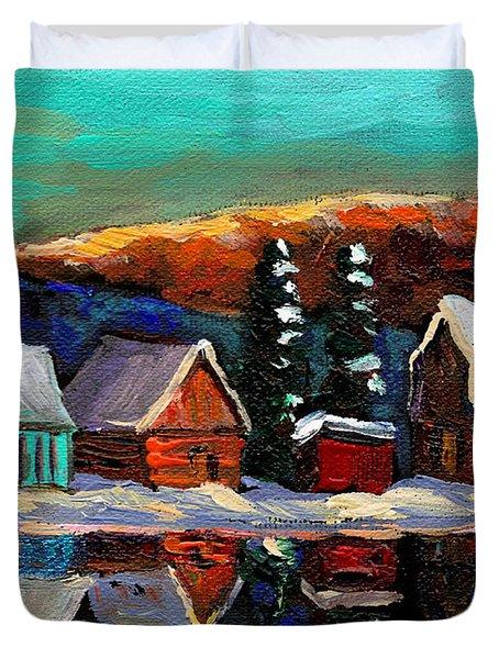 Canadian Art Laurentian Landscape Quebec Winter Scene Duvet Cover by Carole Spandau