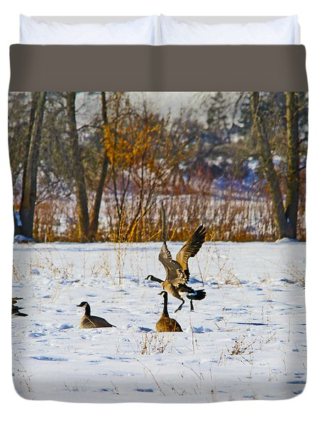 Canadian Geese At Sunrise IIi Duvet Cover