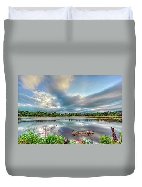 Canadian Geese On A Marylamd Pond Duvet Cover