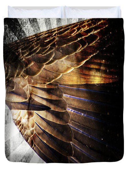 Duvet Cover featuring the digital art Canadian Goose Wing  by Ayasha Loya