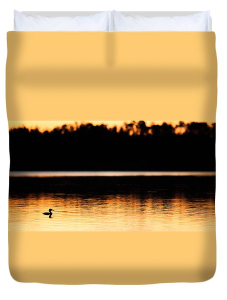Canadian Loon Sunset 2 Duvet Cover by Ian MacDonald