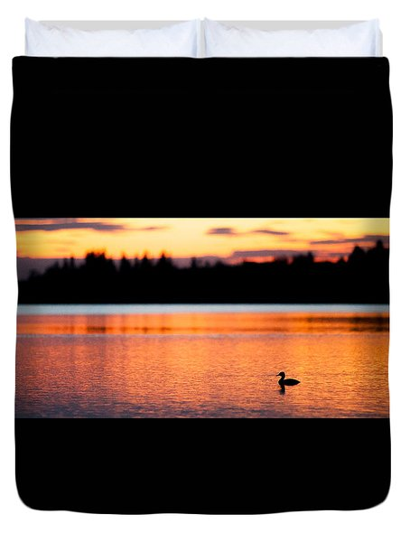 Canadian Loon Sunset 1 Duvet Cover by Ian MacDonald