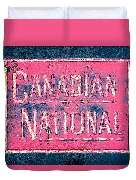 Canadian National Railroad Rail Car Signage Duvet Cover