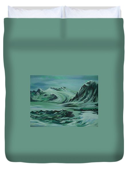 Duvet Cover featuring the painting Canadian North by Anna  Duyunova