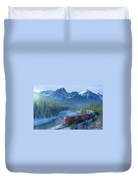 Canadian Pacific Railway Through The Rocky Mountains Duvet Cover by Rod Jellison