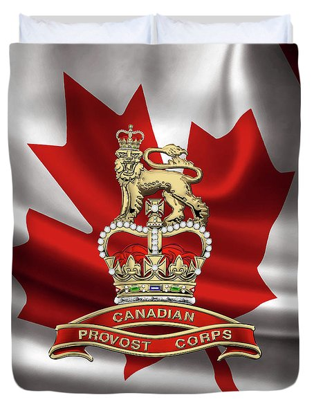 Canadian Provost Corps - C Pro C Badge Over Canadian Flag Duvet Cover by Serge Averbukh
