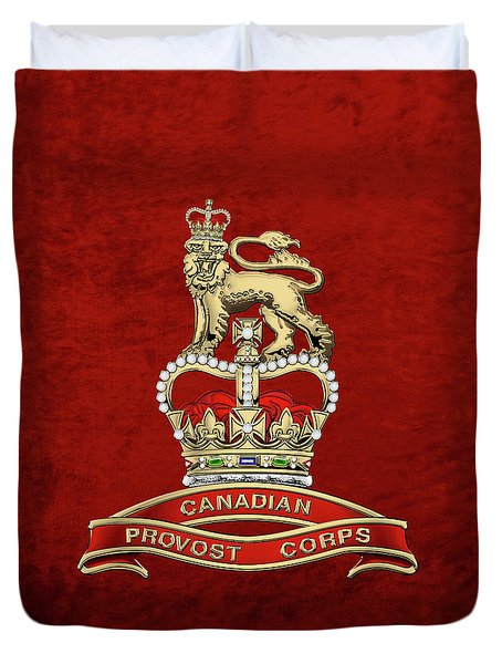 Canadian Provost Corps - C Pro C Badge Over Red Velvet Duvet Cover by Serge Averbukh