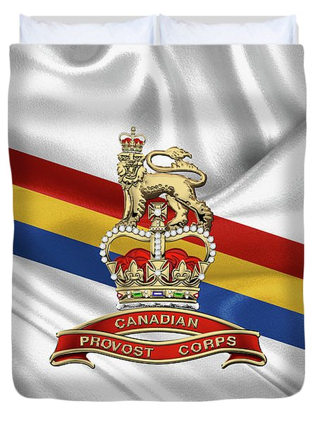 Canadian Provost Corps - C Pro C Badge Over Unit Colours Duvet Cover by Serge Averbukh