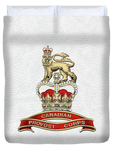 Canadian Provost Corps - C Pro C Badge Over White Leather Duvet Cover by Serge Averbukh
