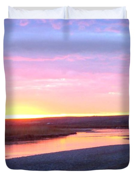 Canadian River Sunset Duvet Cover