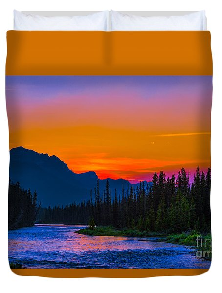 Canadian Rocky Sunset Duvet Cover