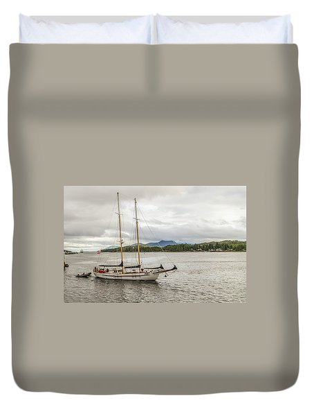 Canadian Sailing Schooner Duvet Cover by Timothy Latta