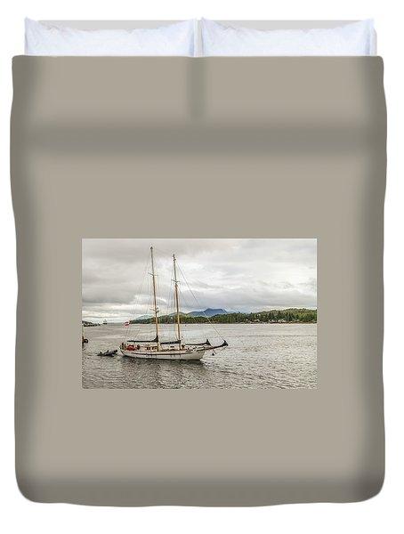 Canadian Sailing Schooner Duvet Cover